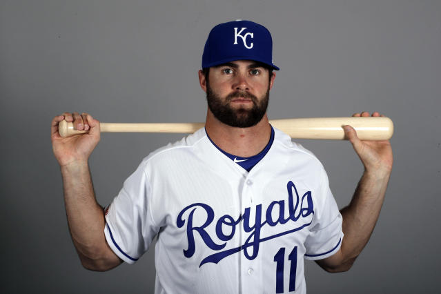 FILE - In this Feb. 21, 2019, file photo, Kansas City Royals' Bubba Starling poses with a baseball bat. Starling has finally reached his goal of getting to the major leagues with the Royals. (AP Photo/Charlie Riedel, File)