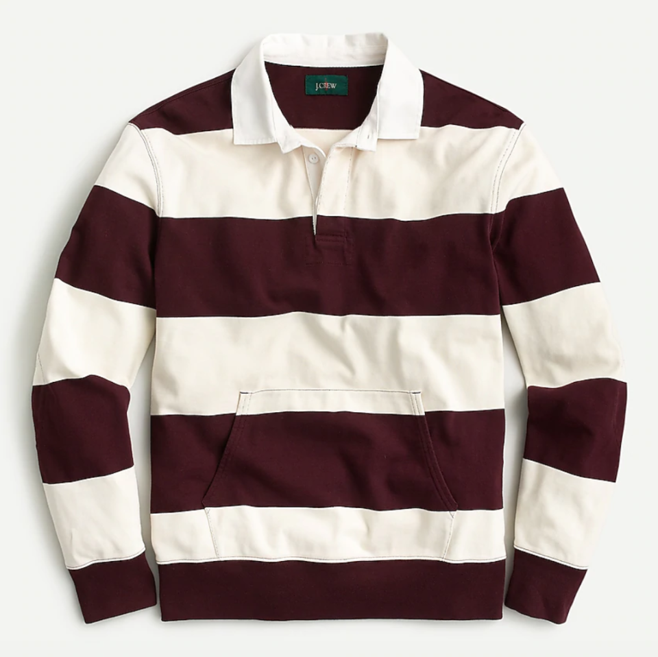"""<p><strong>J.Crew</strong></p><p>jcrew.com</p><p><strong>$89.50</strong></p><p><a href=""""https://go.redirectingat.com?id=74968X1596630&url=https%3A%2F%2Fwww.jcrew.com%2Fus%2Fp%2Fmens_category%2Ftshirts%2F1984-rugby-shirt-in-stripe%2FAP992&sref=https%3A%2F%2Fwww.esquire.com%2Fstyle%2Fmens-fashion%2Fg28074063%2Fbest-rugby-shirts%2F"""" rel=""""nofollow noopener"""" target=""""_blank"""" data-ylk=""""slk:Shop Now"""" class=""""link rapid-noclick-resp"""">Shop Now</a></p>"""