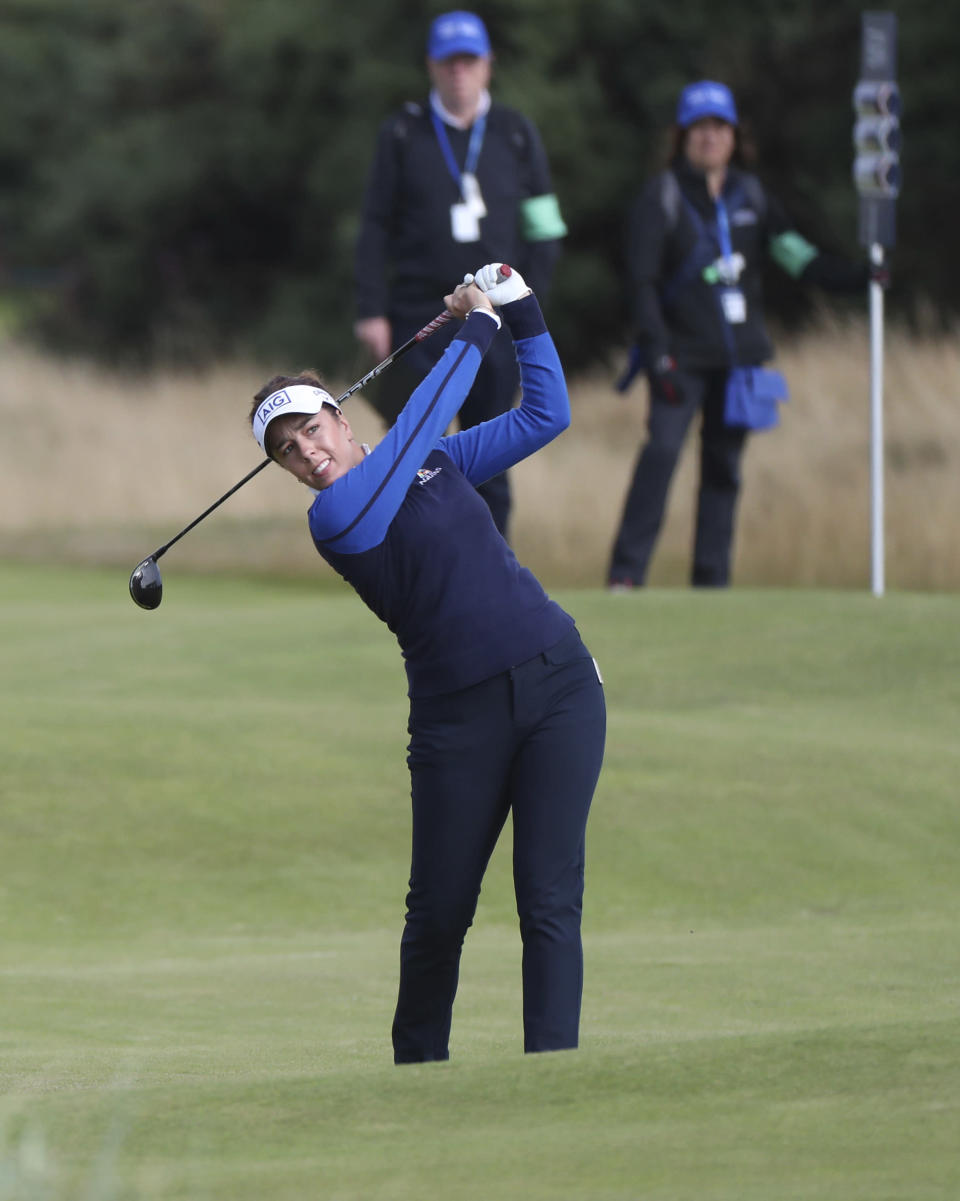 England's Georgia Hall plays a shot on the 12th fairway during the second round of the Women's British Open golf championship, in Carnoustie, Scotland, Friday, Aug. 20, 2021. (AP Photo/Scott Heppell)