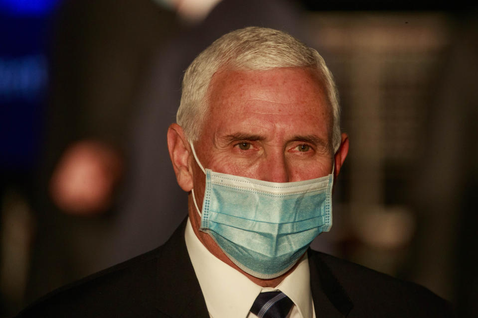 BLOOMINGTON, INDIANA, UNITED STATES - 2020/12/15: United States Vice President Mike Pence wearing a face mask speaks during a round table discussion at  Catalent Biologics, where COVID vaccine vials are being filled. (Photo by Jeremy Hogan/SOPA Images/LightRocket via Getty Images)
