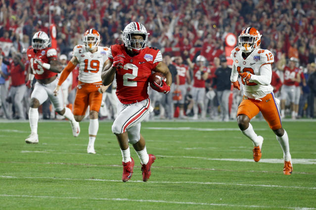 Ohio State running back J.K. Dobbins broke the 2,000-yard mark in OSU's loss to Clemson. (AP Photo/Ross D. Franklin)