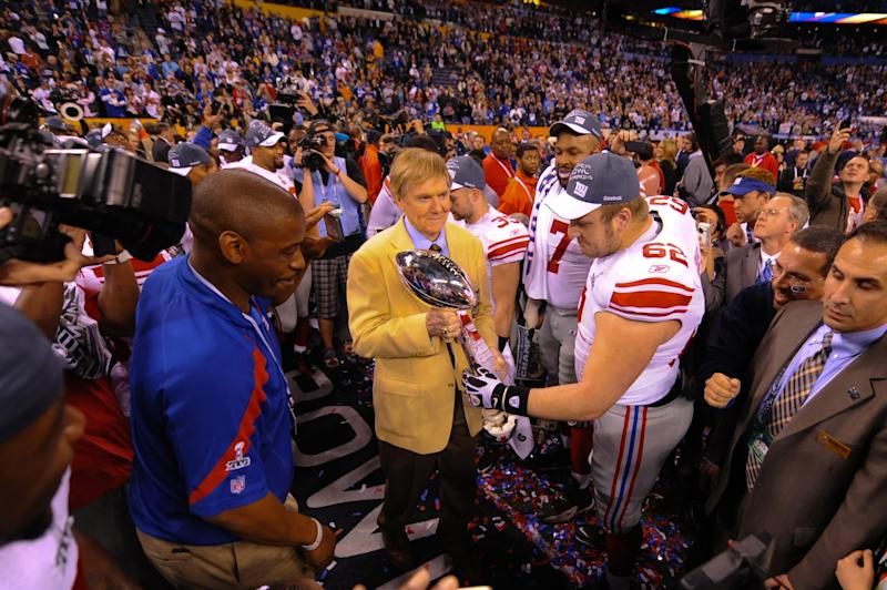 Mitch Petrus helped the New York Giants to Super Bowl XLVI in 2012. (Photo by Rob Tringali)