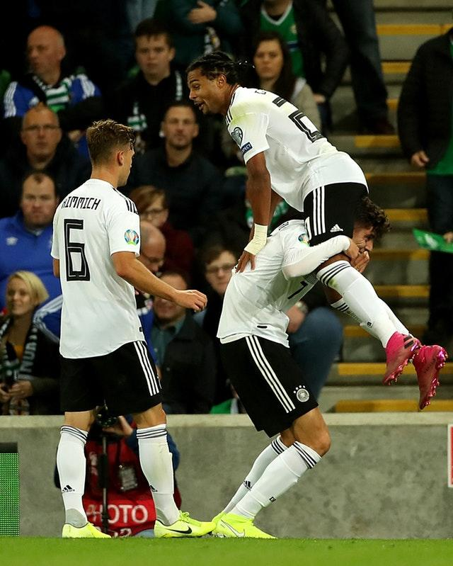 Serge Gnabry celebrates his late goal against Northern Ireland in September (Liam McBurney/PA)