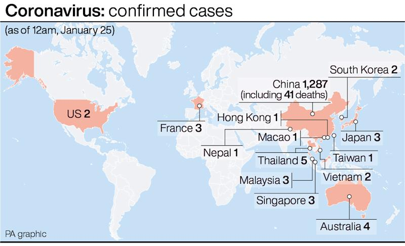 Coronavirus: confirmed cases. See story HEALTH Coronavirus. Infographic PA Graphics