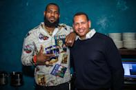 <p>LeBron James and Alex Rodriguez pose together at Komodo in Miami on Saturday.</p>