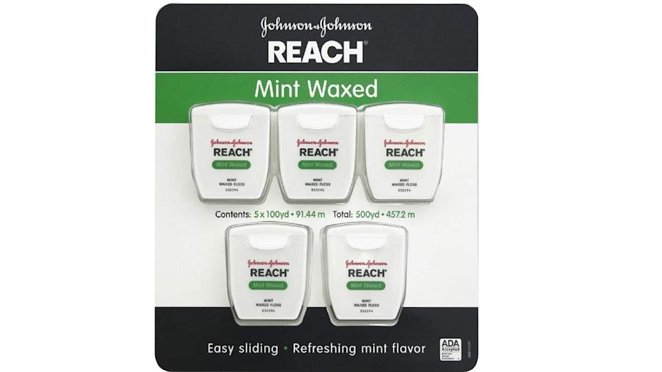 J&J Reach Waxed Dental Icy Mint Flavour Floss. (Image via J&J)