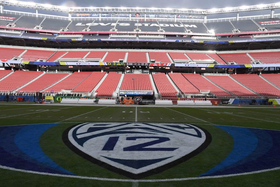 General overall view of Pac-12 logo at midfield prior to the Pac-12 Conference championship game between the Oregon Ducks and the Utah Utes in 2019. (Kirby Lee-USA TODAY Sports)