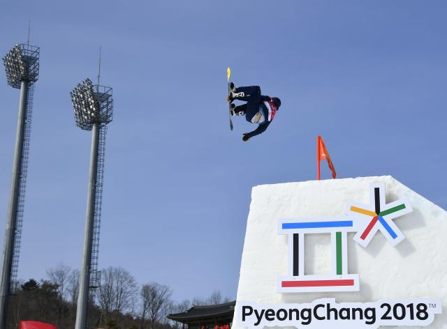 Snowboarding - Pyeongchang 2018 Winter Olympics - Men's Big Air Qualifications - Alpensia Ski Jumping Centre - Pyeongchang, South Korea - February 21, 2018 - Matias Schmitt of Argentina competes. REUTERS/Toby Melville