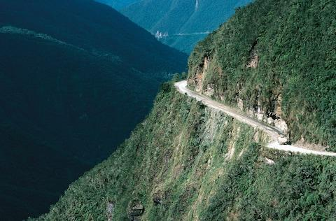 "The ""world's most dangerous road"" in Bolivia - Credit: This content is subject to copyright./DEA / G. SIOEN"