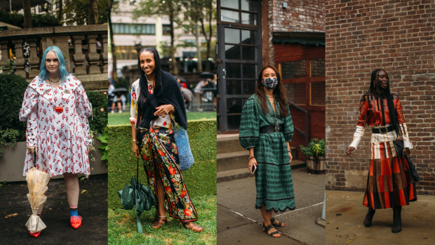 On the street at New York Fashion Week Spring 2022. <p>Photos: Imaxtree</p>