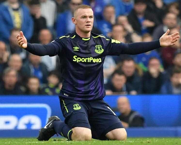 Everton's English striker Wayne Rooney appeals for a free kick during the English Premier League match against Brighton and Hove Albion in Brighton, southern England on October 15, 2017