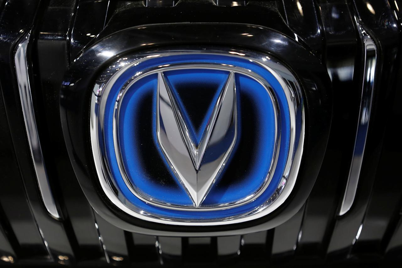 A picture shows the emblem of the Changan automobile maker at the IEEV New Energy Vehicles Exhibition in Beijing, China October 18, 2018.  Picture taken October 18, 2018.   REUTERS/Thomas Peter
