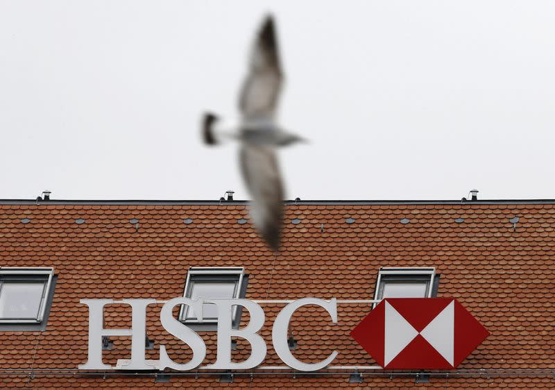 A HSBC logo is pictured at a Swiss branch of the bank in Geneva