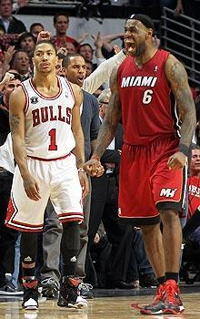 LeBron James and the Heat used an 18-3 run to rally by Derrick Rose and the Bulls