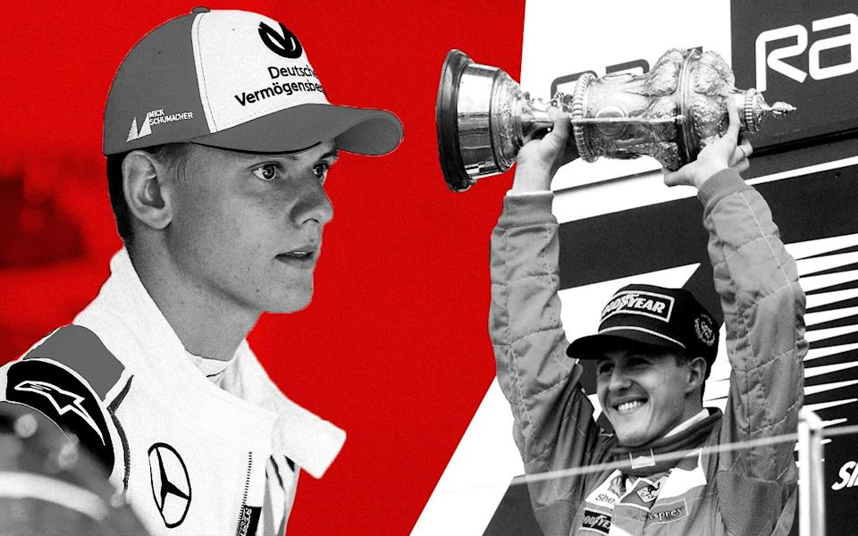 Composite image of Mick Schumacher and his father Michael Schumacher