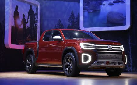 The Volkswagen 2019 Atlas Pickup truck is presented at the New York Auto Show in the Manhattan borough of New York City, New York, U.S., March 28, 2018. REUTERS/Shannon Stapleton