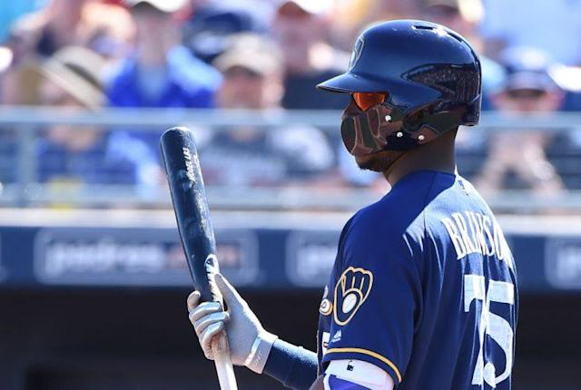 Lewis Brinson has been on fire in the minors, while various Brewers batters are struggling in the bigs. (Photo by Norm Hall/Getty Images)