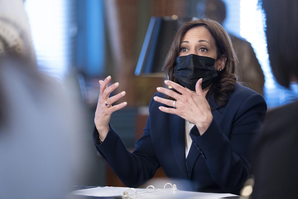 U.S. Vice President Kamala Harris speaks while meeting with small business leaders in the Vice President's Ceremonial Office in Washington, D.C., U.S., on Sept. 29, 2021. The meeting is being held to discuss the Biden administration's bipartisan infrastructure deal and the Build Back Better agenda. (Chris Kleponis/Abaca/Bloomberg via Getty Images)