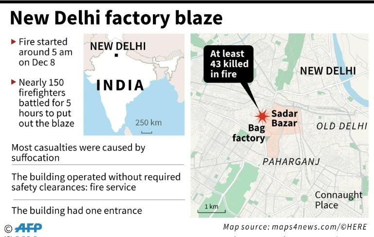 Map locating a bag factory at Sadar Bazar in the Indian capital New Delhi where a fire killed at least 43 people on Sunday