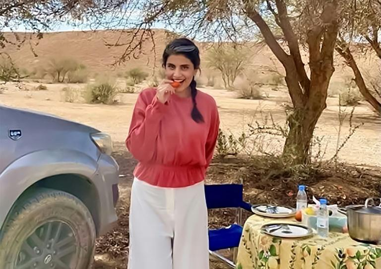 Activist Loujain al-Hathloul at an undisclosed location in Saudi Arabia, days after her release from detention
