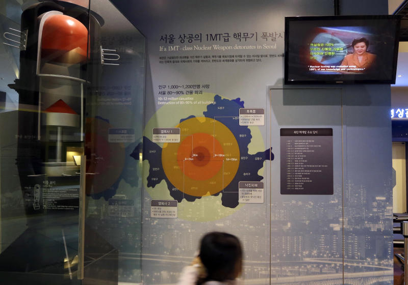 A girl looks at a display on assessment about impact of supposed nuclear attack on Seoul at the Korea War Memorial Museum in Seoul, South Korea, Tuesday, Jan. 29, 2013. North Korea appears all set to detonate an atomic device, but confirming the explosion when it takes place will be virtually impossible for outsiders, specialists said Tuesday. (AP Photo/Lee Jin-man)