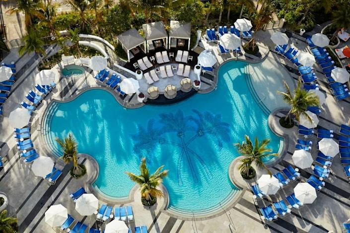 An aerial view of the newly renovated pool deck at Loews Hotel in South Beach.