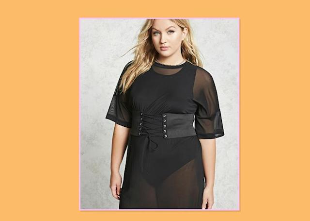 "<p>Plus-Size Belted Mesh Dress, $21, <a href=""http://www.forever21.com/Product/Product.aspx?BR=plus&Category=plus_size-dresses&ProductID=2000094002&VariantID="" rel=""nofollow noopener"" target=""_blank"" data-ylk=""slk:Forever 21"" class=""link rapid-noclick-resp"">Forever 21 </a> </p>"