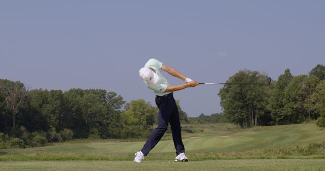 "<p><strong>WRAP IT UP</strong></p> <p>""His hands are way around and behind the head, and the shaft is almost pointed at the target,"" McLean says. ""This shows tremendous rotation of his shoulders. Amazingly, despite some radical movement of his body in the through-swing, he's perfectly in balance as he finishes.""</p>"