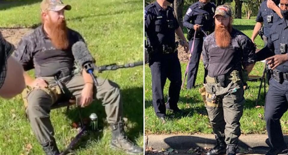 Justin Dunn is seen sitting with a gun on his lap before being arrested.