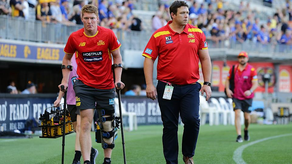 Matt Rowell is making progress in his recovering from an injury he suffered back in March. (Photo by Will Russell/AFL Photos via Getty Images)