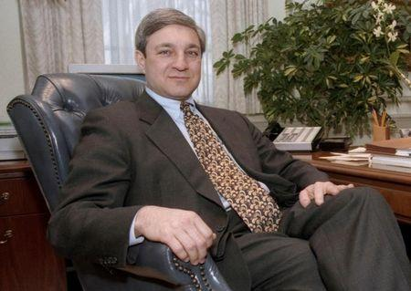 Penn State University President Graham Spanier poses in his office in the Old Main building in State College, Pennsylvania, in this February 26, 1997 file photo.  REUTERS/Craig Houtz/File Photo