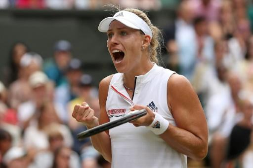Germany's Angelique Kerber celebrates her progress to the Wimbledon semi-finals