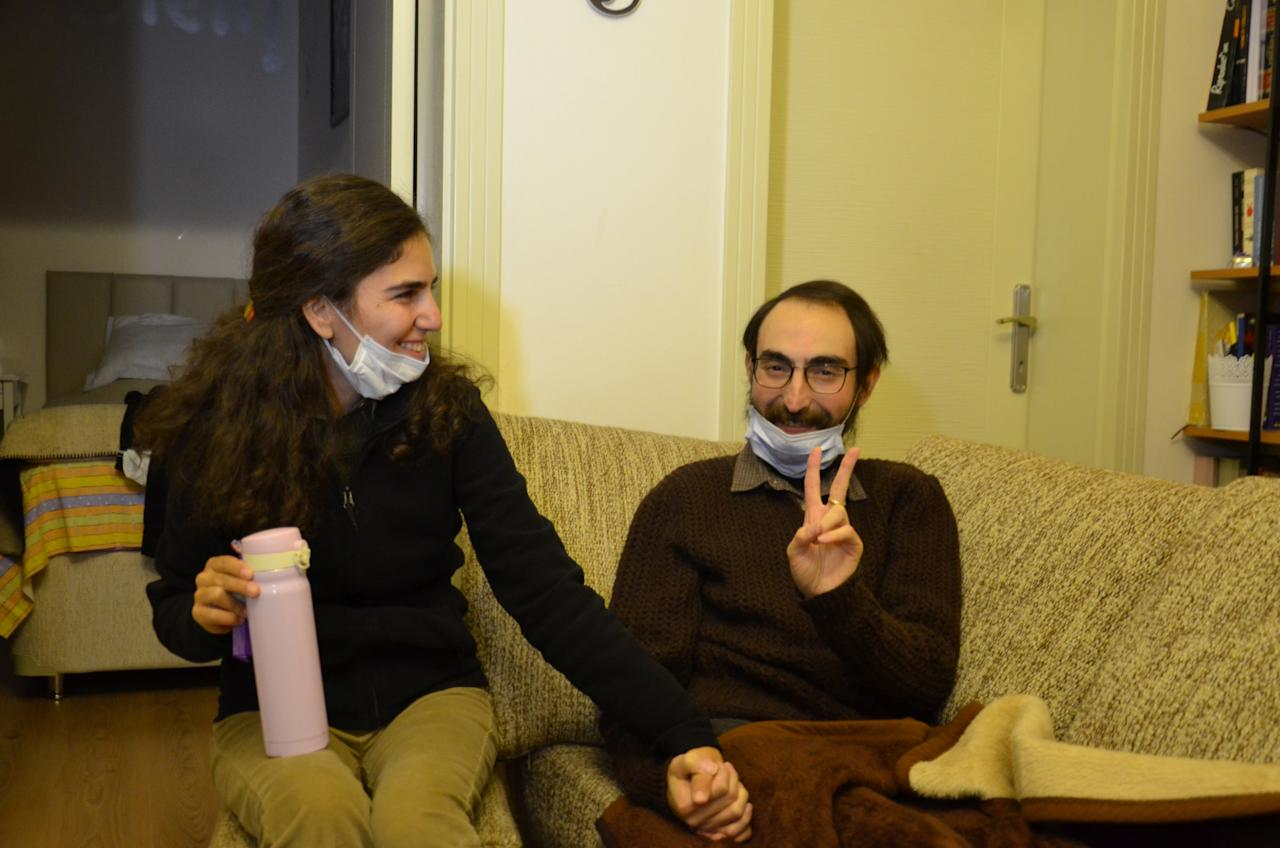 Semih Ozakca, a 28-year-old Turkish teacher who has been on hunger strike for months to protest about losing his job in the government's purge since a failed coup attempt last year and released from jail pending his trial on terrorism-related charges, poses in his home with his wife Esra Ozakca in Ankara, Turkey, October 20, 2017. Picture taken October 20, 2017. Depo Photos via REUTERS ATTENTION EDITORS - THIS PICTURE WAS PROVIDED BY A THIRD PARTY. NO RESALES. NO ARCHIVES. TURKEY OUT. NO COMMERCIAL OR EDITORIAL SALES IN TURKEY.