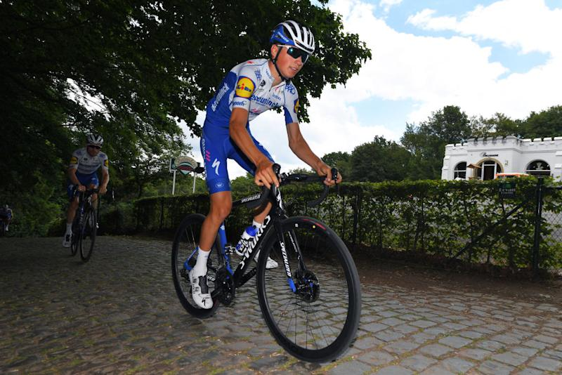 Wevelgem, BELGIUM - JUNE 16: Team Deceuninck Quick-Step during training following the Gent -