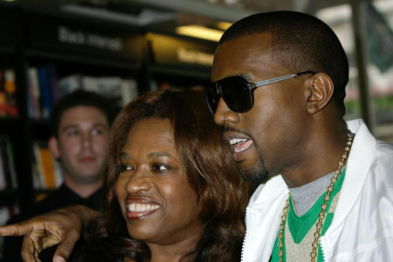 Kanye West with his mother Donda at a signing for her book 'Raising Kanye', at Waterstone's in Piccadilly, central London.