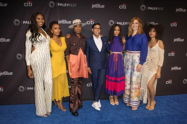 "The cast and creators of ""Pose"" including best actor Emmy nominee Billy Porter (third from left)are seen here in March 2019 in Hollywood; their show earned six nominations including best drama series (AFP Photo/Nick Agro)"