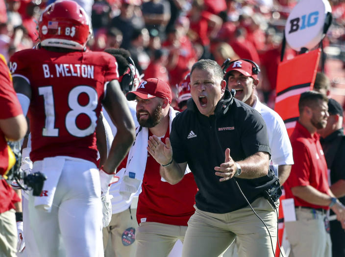 Rutgers head coach Greg Schiano reacts after his team scored a touchdown during the first half of an NCAA college football game against Delaware, Saturday, Sept. 18, 2021, in Piscataway, N.J. (Andrew Mills/NJ Advance Media via AP)