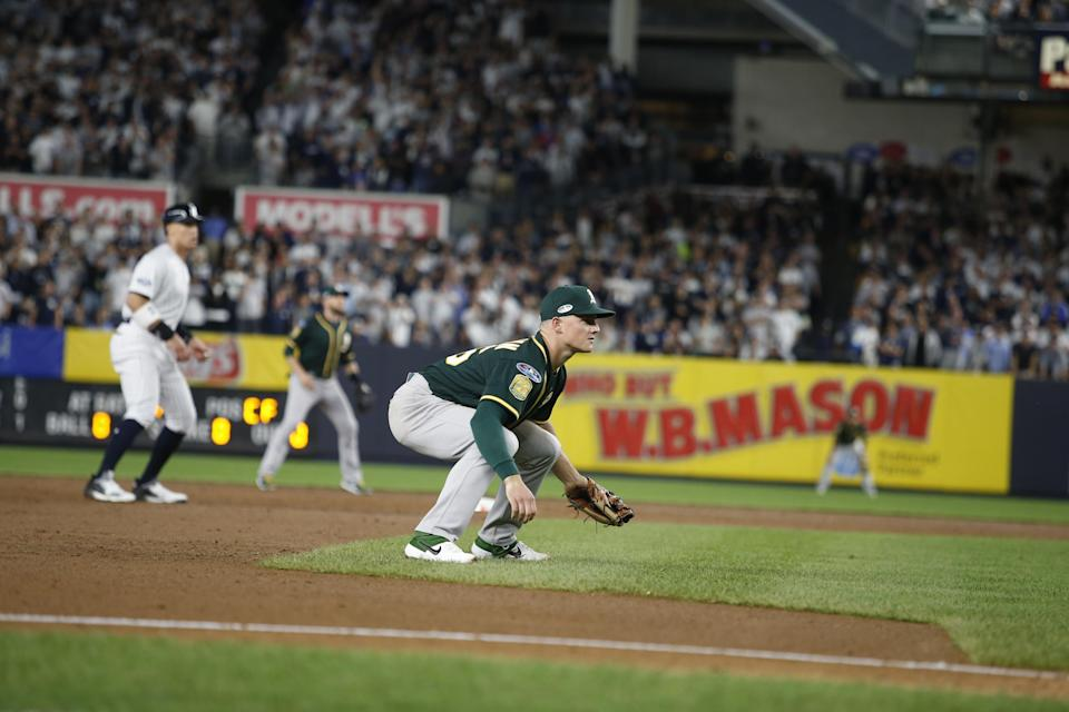 Oakland Athletics third baseman Matt Chapman was among the winners of the annual Gold Glove awards on Sunday, the annual award given to the top defenders across Major League Baseball. (Getty Images)