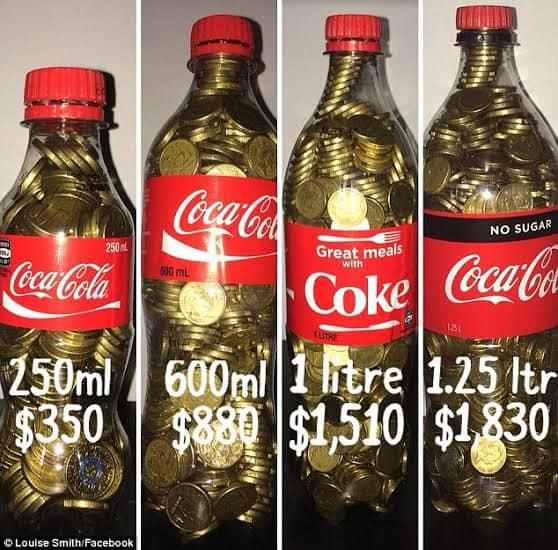 The Coke Bottle challenge. Source: Mums Who Budget & Save