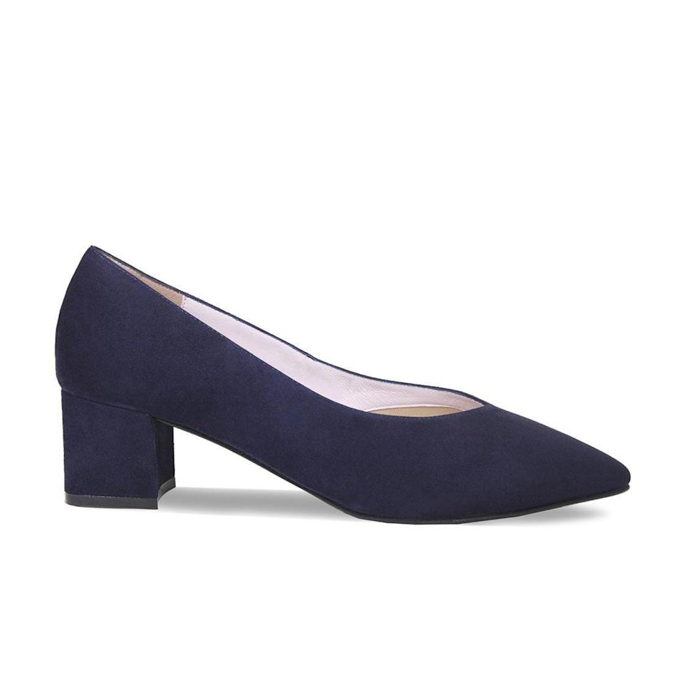 """<p><strong>Sole Bliss</strong></p><p>us.solebliss.com</p><p><strong>$249.00</strong></p><p><a href=""""https://us.solebliss.com/collections/shoes/products/ingrid-navy-suede"""" rel=""""nofollow noopener"""" target=""""_blank"""" data-ylk=""""slk:Shop Now"""" class=""""link rapid-noclick-resp"""">Shop Now</a></p><p>Whether you have bunions, hammertoes or wide feet, you need extra room in the front of the shoes for comfort. This British shoe brand uses <strong>innovative design features, including a wide toe box and a bunion cushion to relieve pressure. </strong>They also have memory foam cushioning and arch support in the footbed. The brand has <a href=""""https://us.solebliss.com/collections/shoes"""" rel=""""nofollow noopener"""" target=""""_blank"""" data-ylk=""""slk:other styles"""" class=""""link rapid-noclick-resp"""">other styles</a> to choose from with these features, but this pair in particular has the ideal two-inch block heel.</p>"""