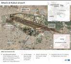 Map showing the location of the deadly explosion at Kabul airport (AFP/Valentina BRESCHI)