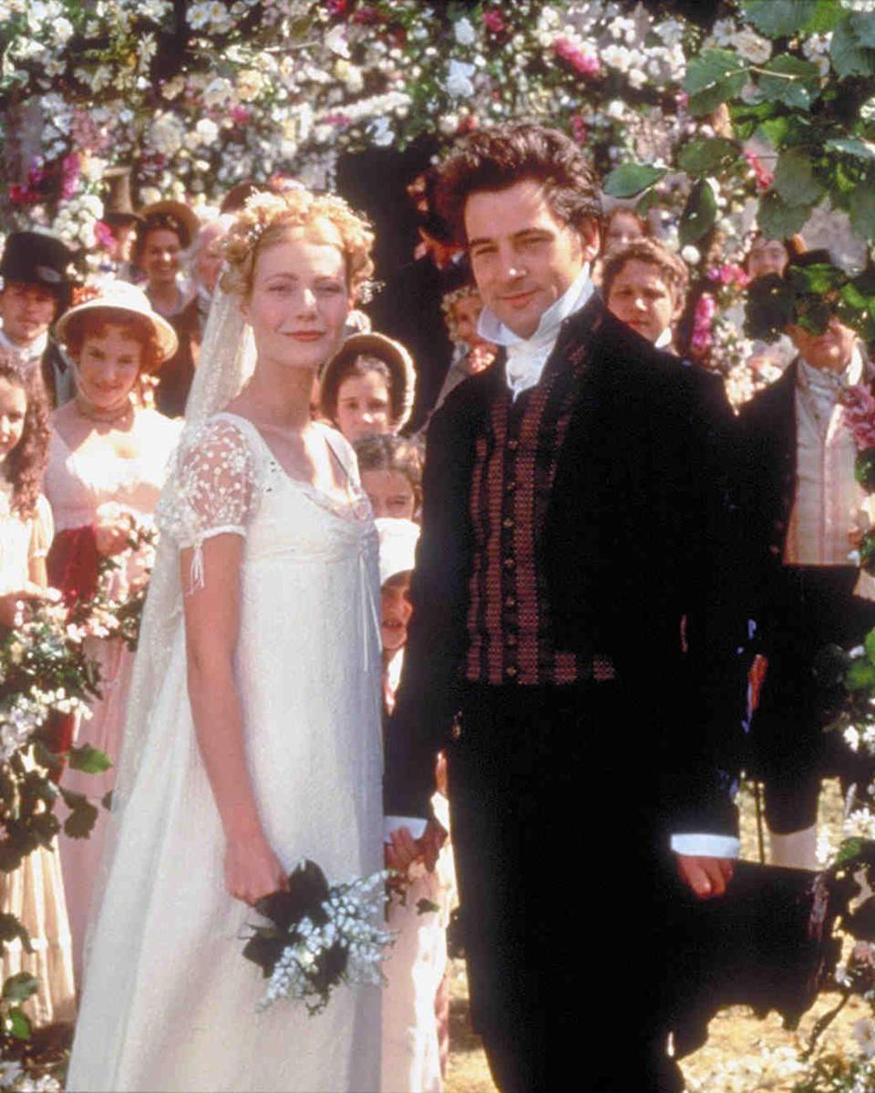 <p>Gwyneth Paltrow nails the straight-out-of-a-Jane-Austen-novel look with this sweet and simple wedding dress. </p>