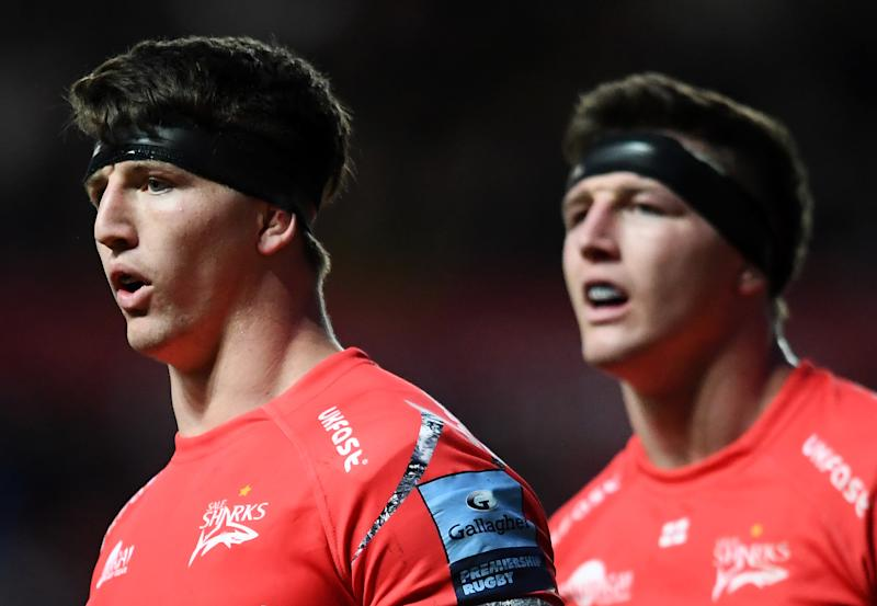 BRISTOL, ENGLAND - MAY 03: Ben Curry and Tom Curry of Sale Sharks look on during the Gallagher Premiership Rugby match between Bristol Bears and Sale Sharks at Ashton Gate on May 03, 2019 in Bristol, United Kingdom. (Photo by Harry Trump/Getty Images)