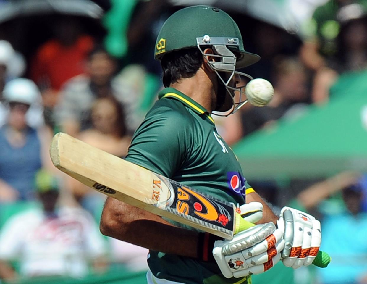 Pakistan's batsman Wahab Riaz avoids a ball during the fifth and final One-Day Internationals (ODI) cricket match between South Africa and Pakistan in Benoni at Willowmoore Park on March 24, 2013. Pakistan finished the innings on 205 all out. AFP PHOTO / ALEXANDER JOE        (Photo credit should read ALEXANDER JOE/AFP/Getty Images)