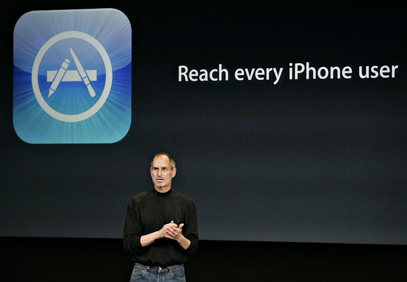 Steve Jobs, chief executive officer of Apple Inc., speaks du