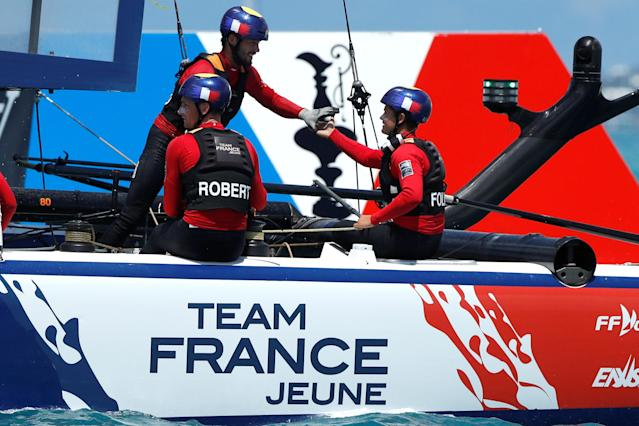 Sailing - Youth America's Cup finals - Hamilton, Bermuda - June 20, 2017 - Team France Jeune celebrates win in race two during day one of finals. REUTERS/Mike Segar