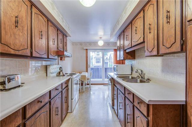 <p><span>22 Albertus Ave., Toronto, Ont.</span><br> The kitchen comes with the fridge, stove, dishwasher, and groovy cabinetry. (Photo: Zoocasa) </p>
