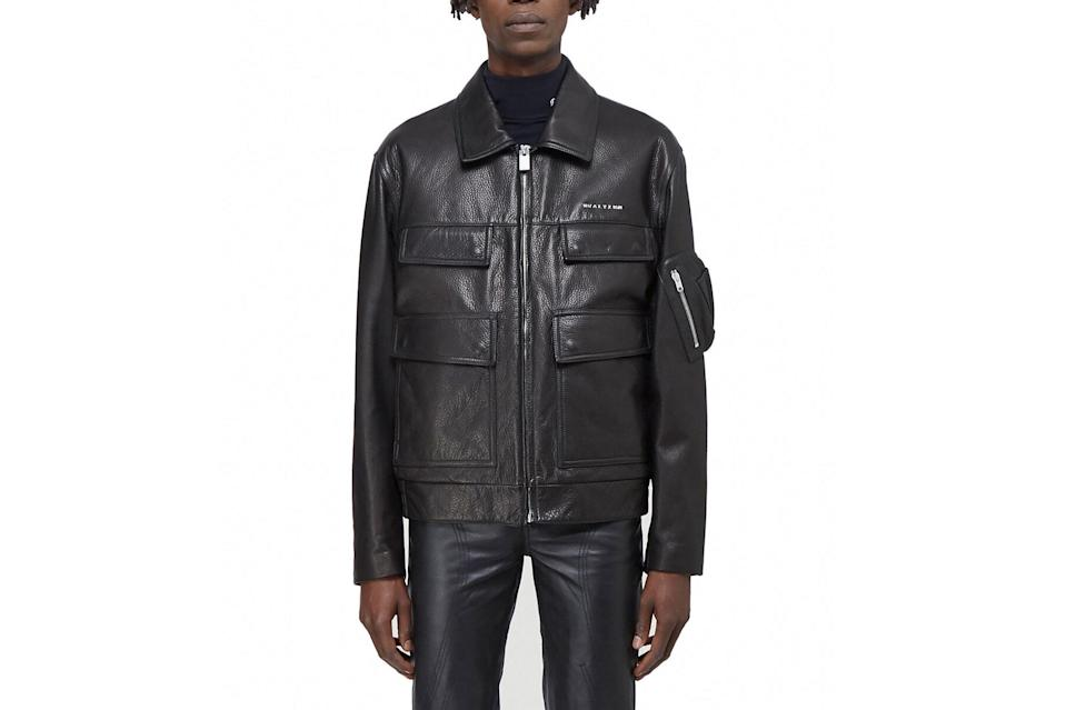 "$3190, LN-CC. <a href=""https://www.ln-cc.com/en/men/clothing/jackets/police-leather-jacket-in-black-aly0142007blk.html"" rel=""nofollow noopener"" target=""_blank"" data-ylk=""slk:Get it now!"" class=""link rapid-noclick-resp"">Get it now!</a>"