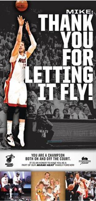 After amnestying him, Miami Heat thank Mike Miller in full-page newspaper ad, which is nice