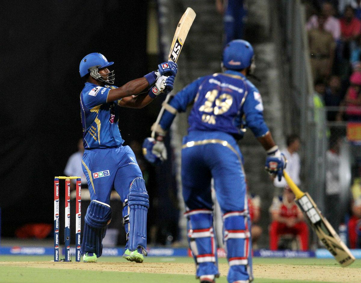 Mumbai Indian player Dwayne Smith plays a shot during match 37 of the Pepsi Indian Premier League ( IPL) 2013  between The Mumbai Indians and the Royal Challengers Bangalore held at the Wankhede Stadium in Mumbai on the 27th April 2013. (BCCI)